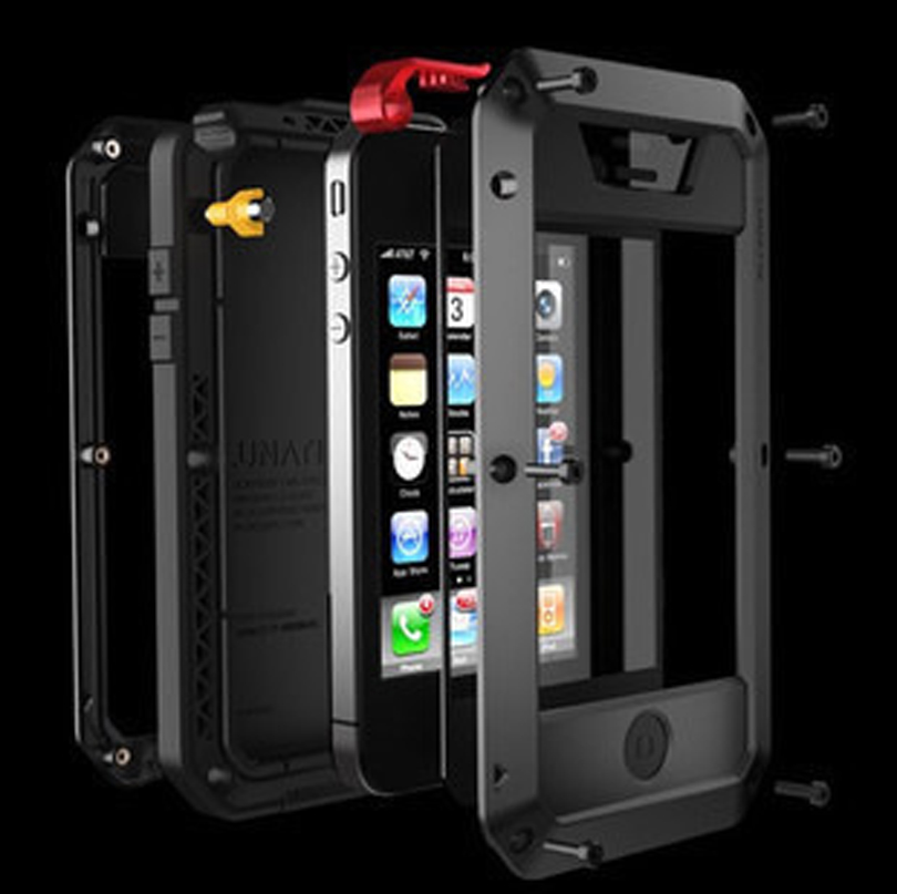 Luxury Doom armor Dirt Shock Waterproof 4 proof Metal Aluminum cell phone case For iphone 4 4s 5 5s 5c 6 6 Plus + Tempered glass(China (Mainland))