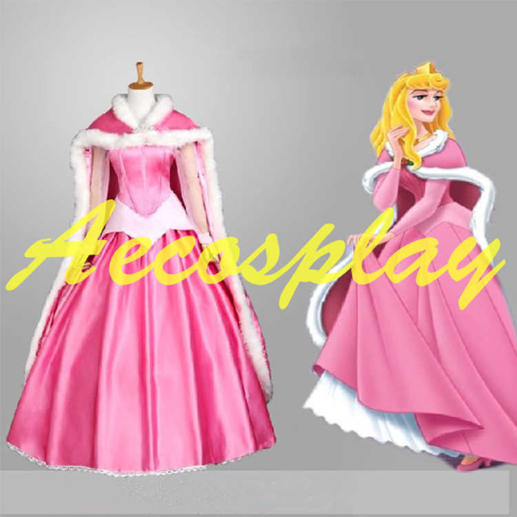 Sleeping Beauty Princess Aurora Pink Satin Cape Faux Rabbit Fur Cosplay Cloak Only Halloween Costumes for Women High Quality(China (Mainland))