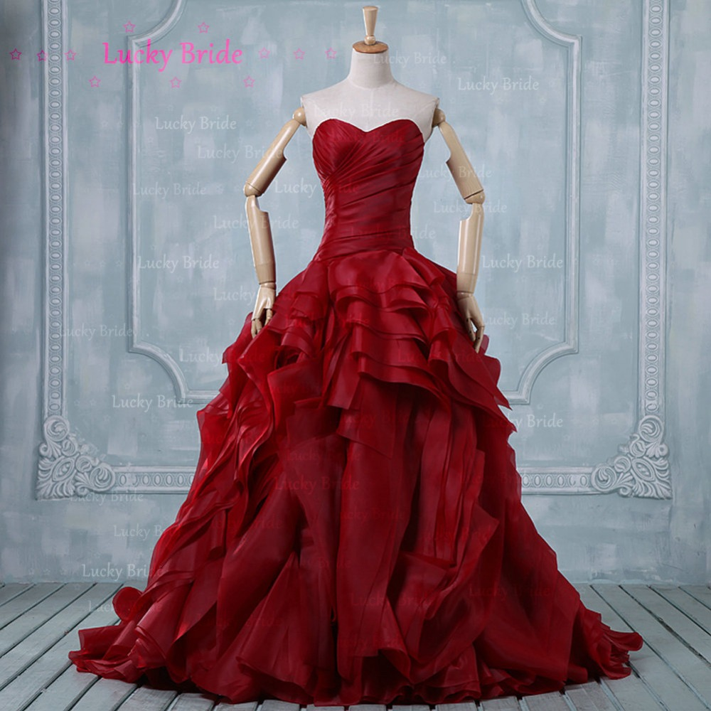Funky Red Ball Gown Wedding Dresses Embellishment - All Wedding ...