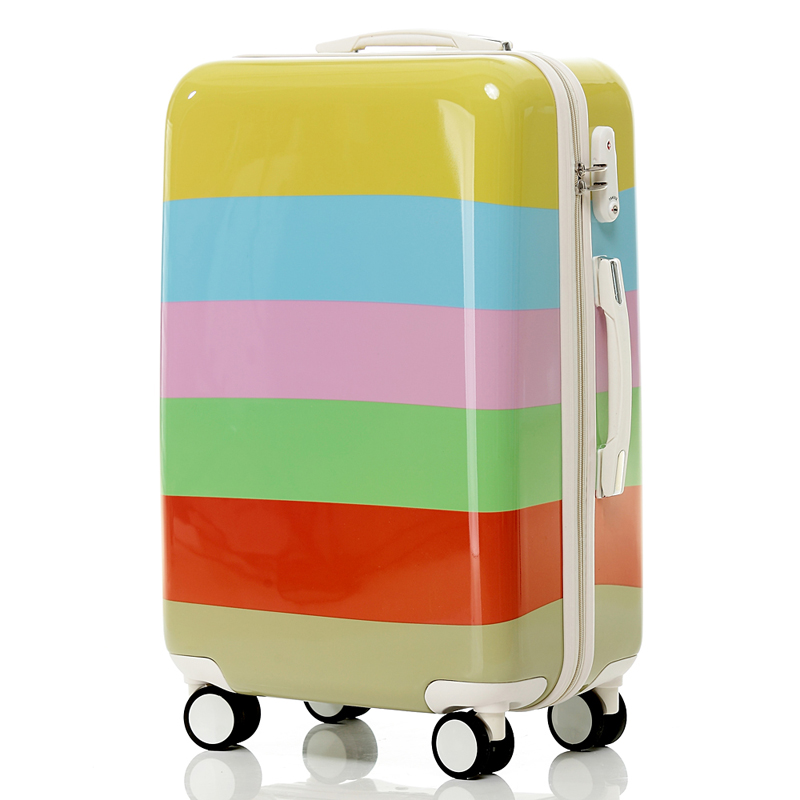 New Suitcase Fashion Horizontal Stripe Trolley Luggage Travel Bag ABS+PC Universal Wheels Luggage 20