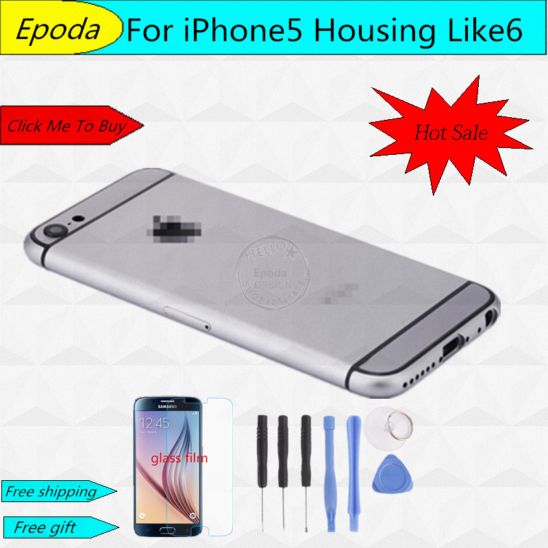 For iPhone 5 5G iPhone 6 Design Style Back Battery Cover Housing Frame With Small Parts Replacement Part For iPhone5(China (Mainland))
