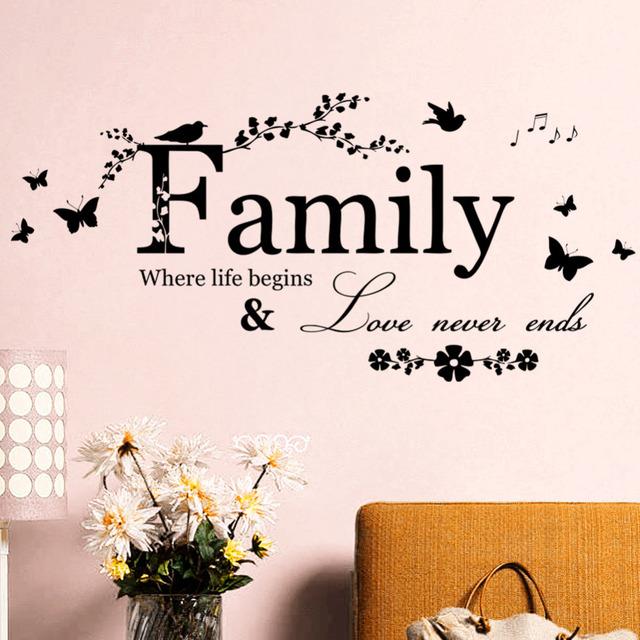 Семья любовь никогда не кончается цитата винил бабочка стены этикету уолл надписи искусство слова декора дома стикера стены свадебные украшения 8346