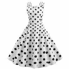 Женское платье, винтажное, принцесса, в горошек, с принтом, коктейльное, с вырезом лодочкой, Бандажное, вечерние, свежее платье, платье-трапец...(China)
