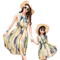 New summer Mother daughter dresses children Girls Dress Family look Outfits Yellow striped women girl holiday