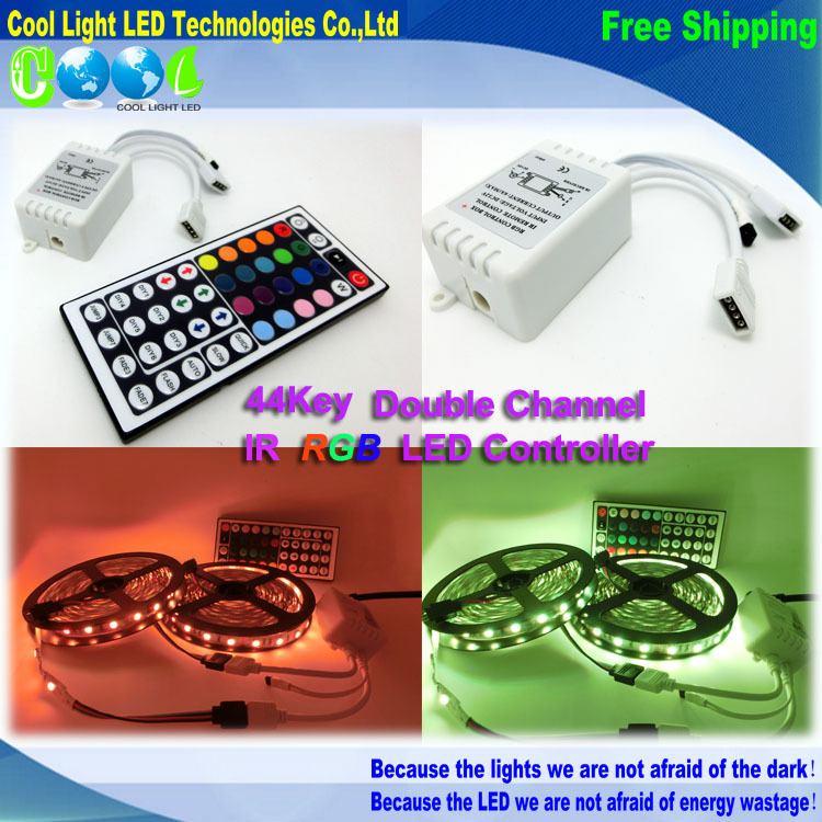 1pcs/lot,DC12V 6A IR LED RGB Controller ,double output,44keys for LED RGB strips<br><br>Aliexpress