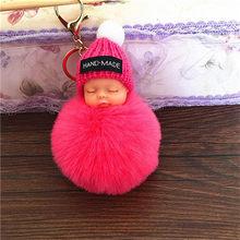 Moda Bebê Dormindo Boneca Chaveiro Mulheres pom pom Pompom Fofo chaveiro llaveros chaveiro Saco Chave Titular Chaveiro Pompom Porte(China)