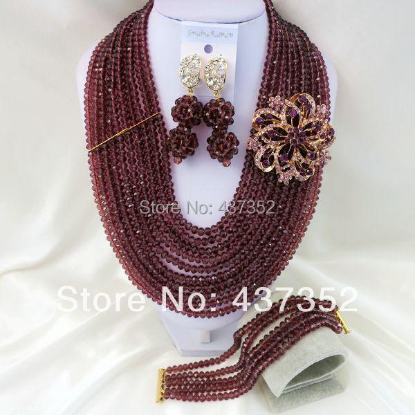 New Fashion Nigerian Wedding African Beads Purple Necklaces Bracelet Earrings Jewelry Set CPS-768<br><br>Aliexpress