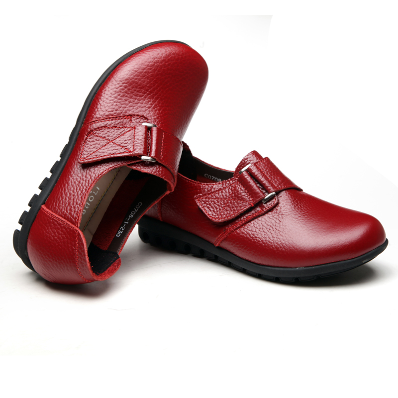 ZZPOHE Leather middle-aged women single shoes mother fashion soft leather shoes comfortable leather tie ladies flat shoes 42 43