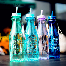 650ml Fashion Unbreakable Water Bottle Plastic Portable Sports Cup With Straw My Creative Bottle BPA Free Transhome(China (Mainland))