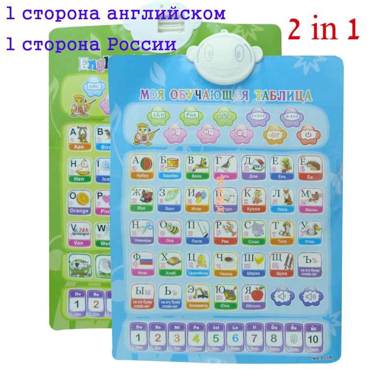 1 side Russian 1 side English language electronic baby ABC alphabet sound chart infant early learning education phonetic chart(China (Mainland))