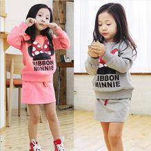 Lucky Store 2015 minnie kids clothes girls clothing sets baby girl cartoon t shirt skirt