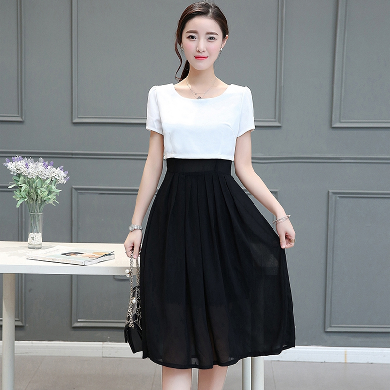 Make new chiffon dress female false two dress teamed small and pure and fresh(China (Mainland))