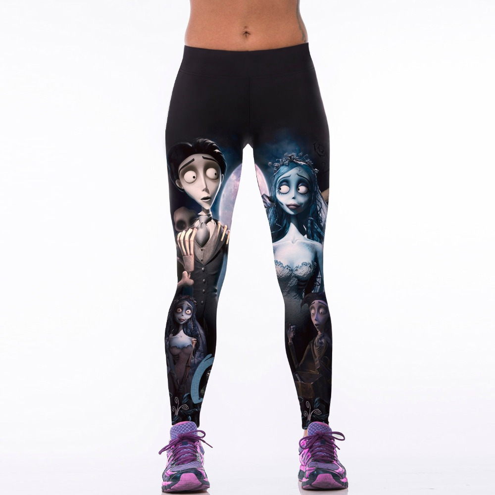 NEW 022 Sexy Girl Corpse Bride ghost Cartoon Prints Slim High Waist Workout Fitness Women Leggings Pants Trousers One Size