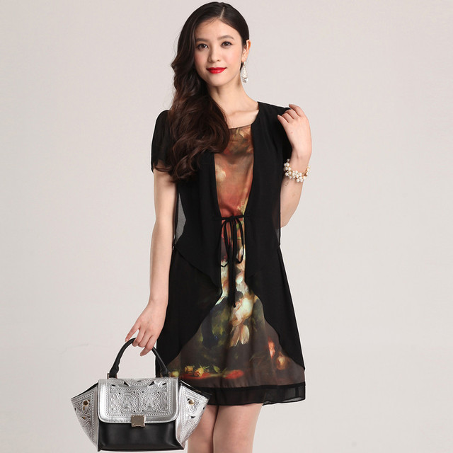 Free Shipping 2013 new arrival  fashion patchwork excellent quality women's silk dress plus size 025800695