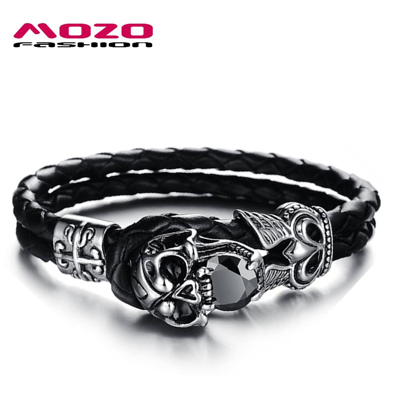 MOZO FASHION Men Jewelry Punk Stainless Steel Skull Bracelet Double Layer Black Leather Rope Chain Men's Bracelet Bangles MPH846