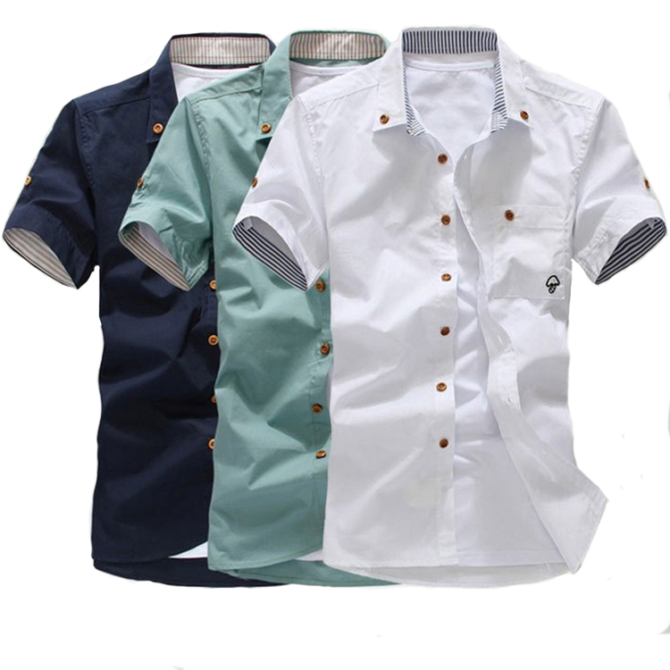2015 men short sleeve shirt summer short sleeve slim shirt cusual Summer Style camisa social Cotton