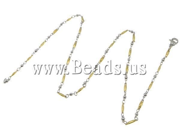Free shipping!!!Necklace Chain,Lucky, 316L Stainless Steel, two-tone, 8x2x2mm, 6x2.5x2.5mm, Length:17.5 Inch, 20Strands/Lot<br><br>Aliexpress