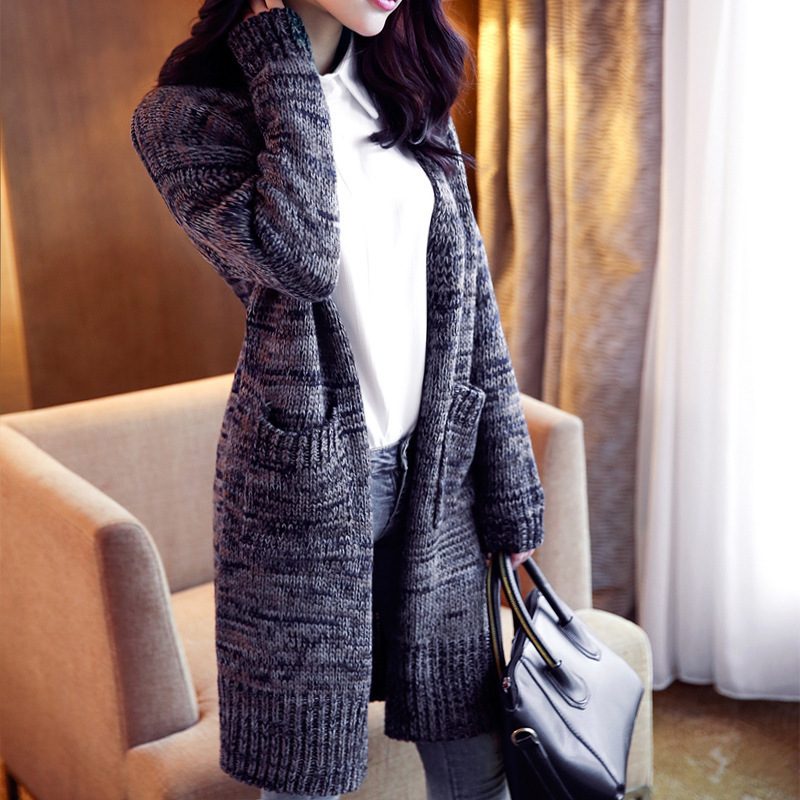 casual poncho Knitted sweater long cardigan pull femme Ladies long ...
