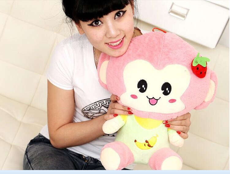 small lovely stuffed monkey toy plush toys cute strawberry monkey toy birthday gift pink about 35cm(China (Mainland))