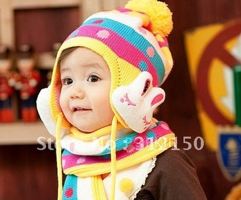 5sets free shipping Baby rabbit hat+scarf set Free shipping Girl's Knitted hat baby hat ear protection