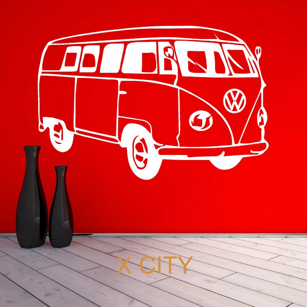 VW CAMPER VAN FAMOUS BUS CAR WALL ART STICKER VINYL TRANSFER DECAL DOOR WINDOW ROOM STENCIL MURAL DECORATION(China (Mainland))