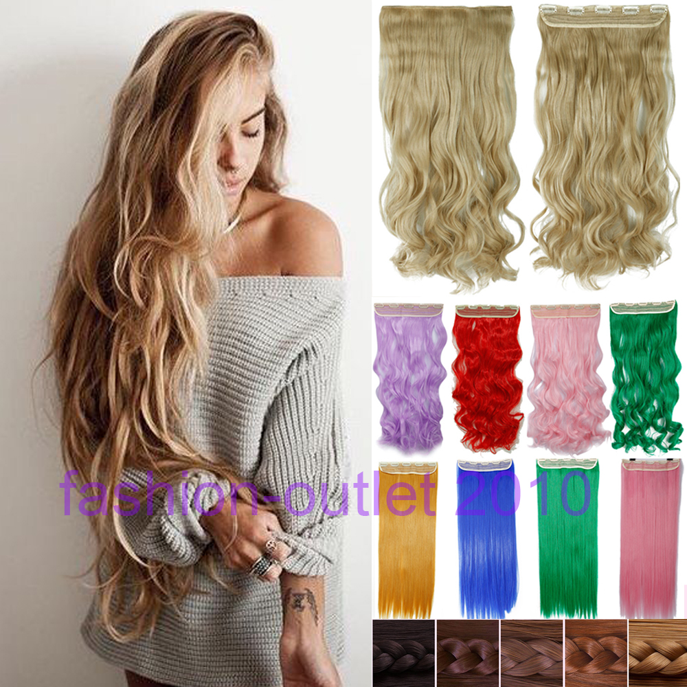 60CM Clip in Synthetic Hair Extensions Long Wavy Curly Hair One Piece 5 Clips Blonde Brown Smooth(China (Mainland))