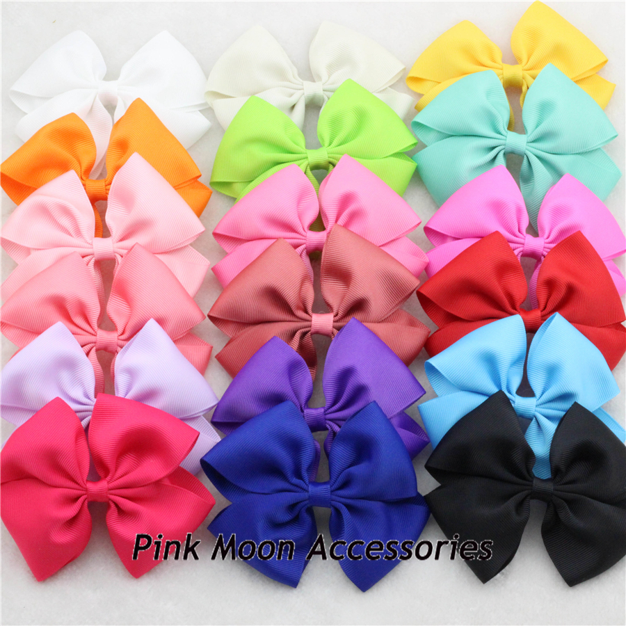 """New 4.5"""" Large Size Ribbon HairBow with Alligator clip Baby Girl Hair accessories Children Grosgrain Bowknot Hair clip 20Pcs/lot(China (Mainland))"""