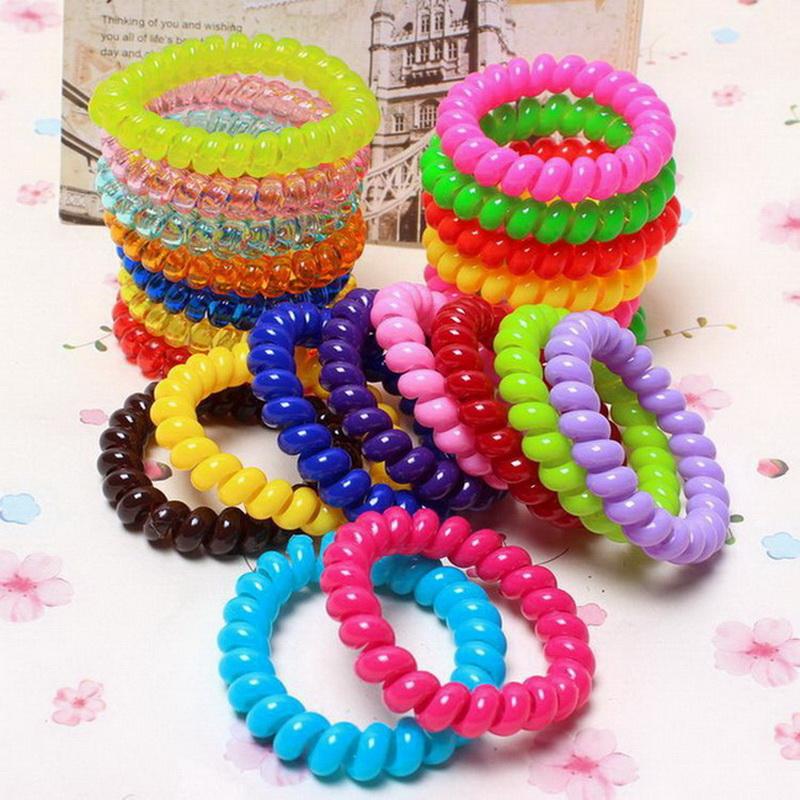 5 pcs fashion telephone wire hair bands elastic Silicone rezinochki gum spring scrunchy for women children girls headband(China (Mainland))