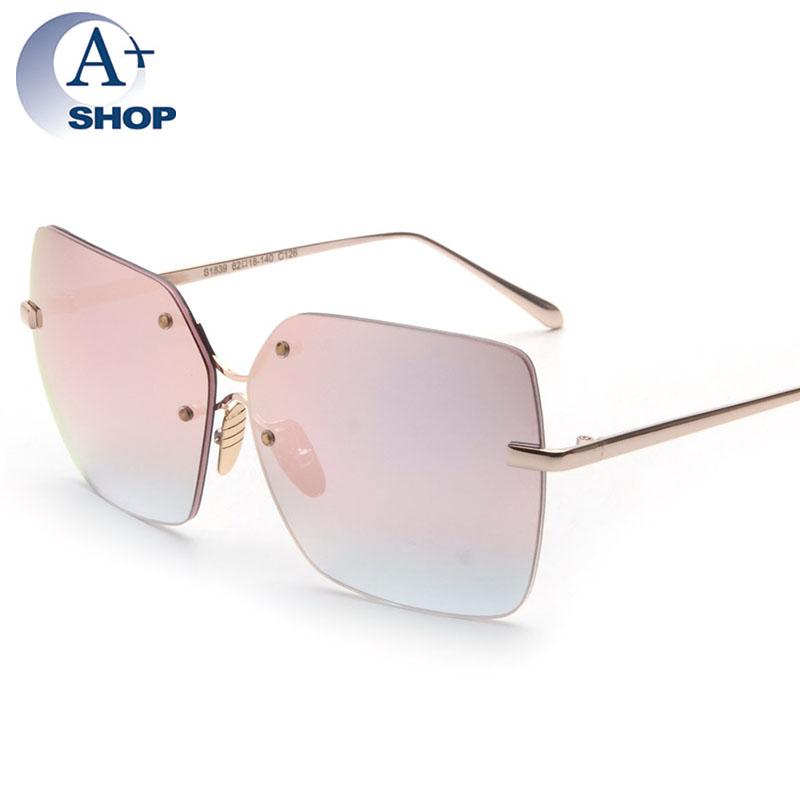 Rimless Sunglasses Women Square Oversized Vintage Sun ...