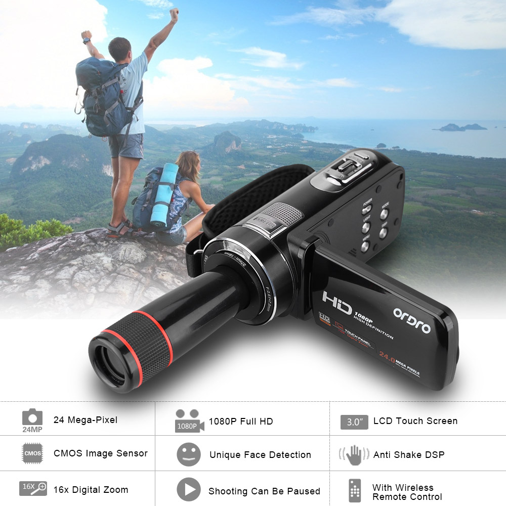 ORDRO HDV-Z8 Mini Camera Full HD 1080P 24MP Video Camera 16x Digital Zoom LCD Touch Screen with 12x Telephoto Lens Camcorder DV(China (Mainland))