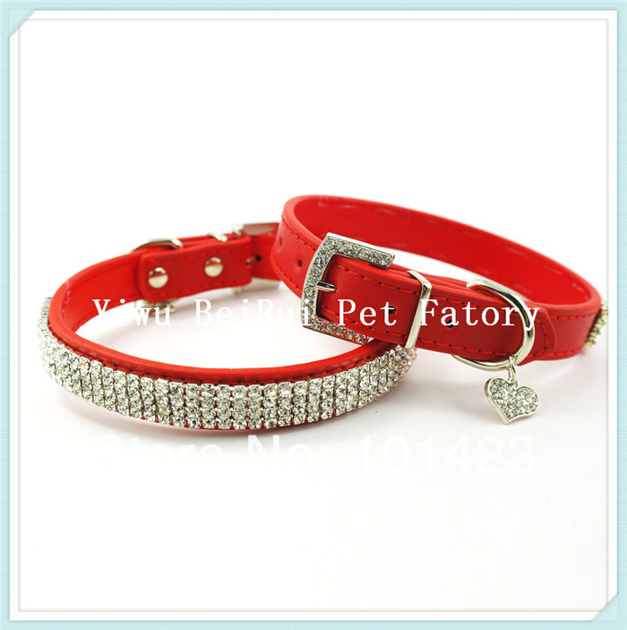 """Free Shipping Berry 1""""*20"""" Bling Real Leather Diamond Dog Collar with Rhinestone Heart(China (Mainland))"""