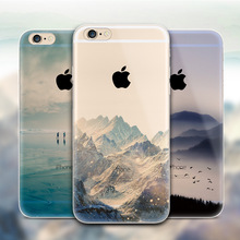 Ultra Thin Soft Silicon Mountain Case Fundas Cover For Apple iPhone 6 iPhone 6 Plus Case Luxury Transparent Back Cover For Phone(China (Mainland))