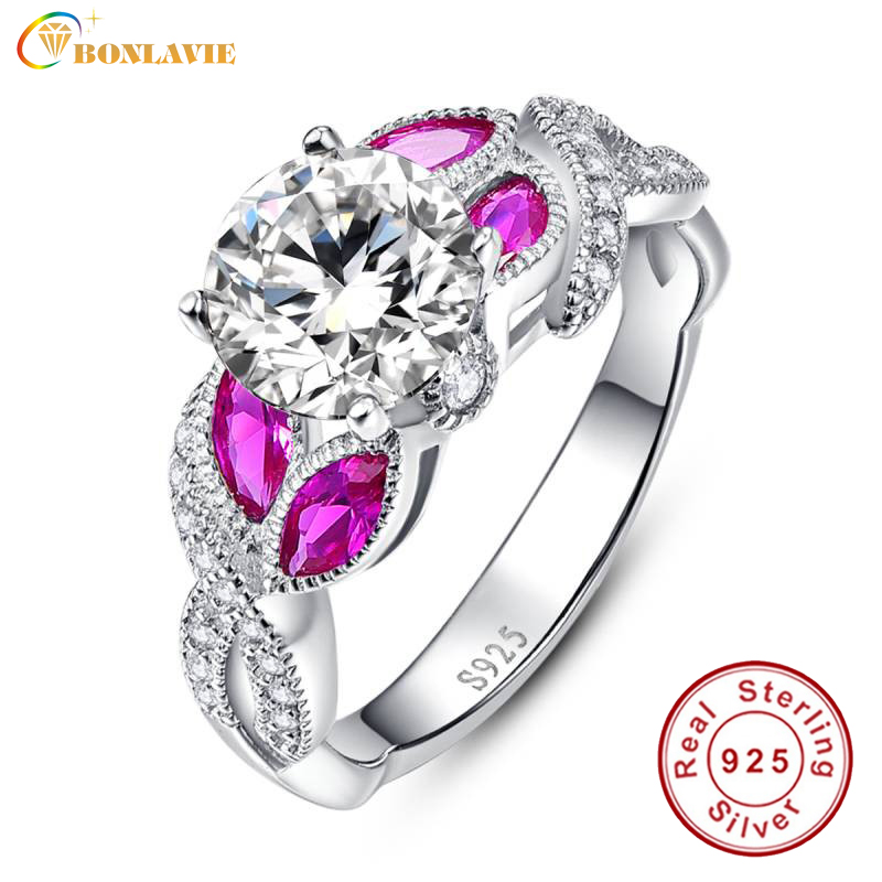 Certificated Real Sterling Silver Clear Brilliant CZ Diamond Rings Cubic Zirconia Paved Braid Ring with Red Ruby Stone for Women(China (Mainland))