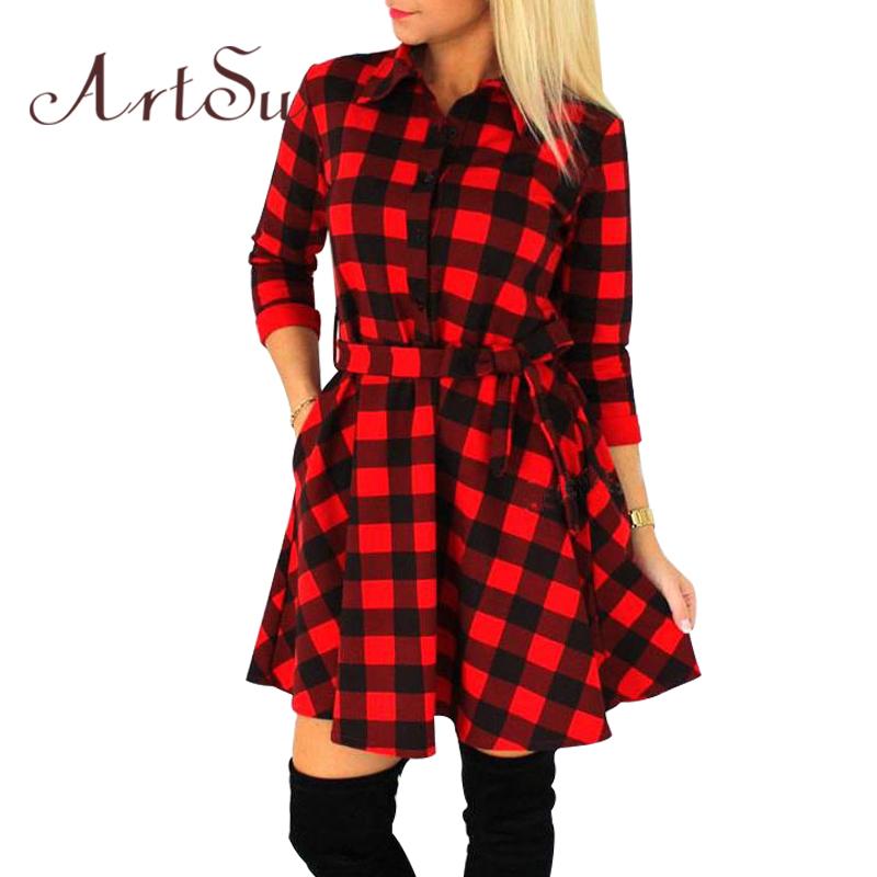 ArtSu 2016 Fashion Women Mini Dress Vintage White Black Plaid Print 3/4 Sleeve Sexy Plus Size Plaid Short Dress ASDR10007(China (Mainland))