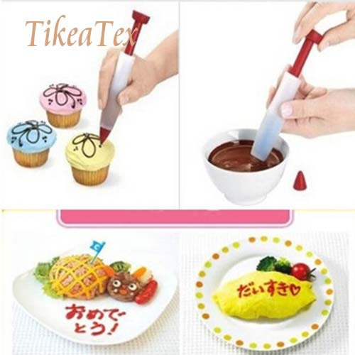 Hot Sale Silicone Plate Writing Pen Cake Cookie Cream Pastry Chocolate Decorating Pen Syringe Cup Cake Decorating Tools(China (Mainland))