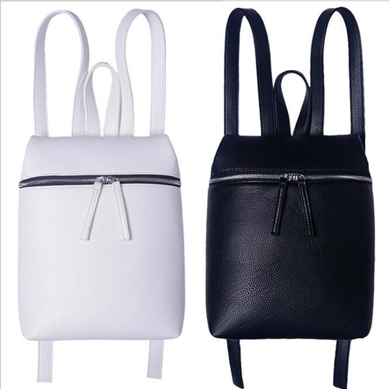 2016 Nouveau Style Simple Designer Petit Sac À Dos Femmes Blanc et Noir Voyage PU Sacs À Dos En Cuir De Mode Sac À Dos Femelle sac(China (Mainland))