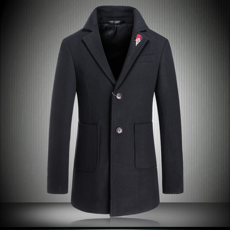 Very Good Jobs 2015 New Winter Men's Woolen Jacket Solid Design Trench Coat Thicken Cashmere Overcoat Plus Size 3xl 4xl #15861(China (Mainland))