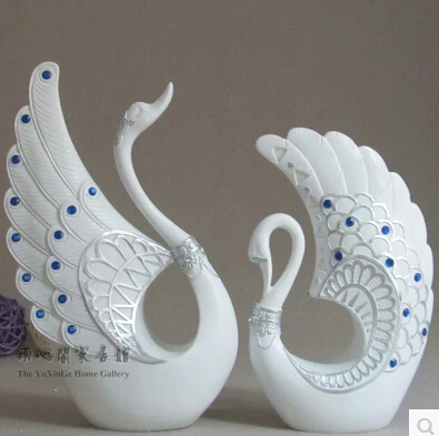 Lovers home decoration tv cabinet decoration resin swan crafts furniture accessories rustic accessories(China (Mainland))