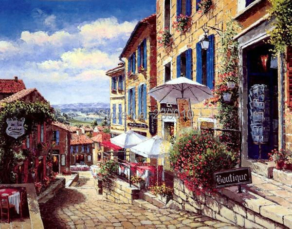 Free Shipping european construction street Landscape canvas prints Oil Painting Mediterranean Sea oil Painting on canvas(China (Mainland))