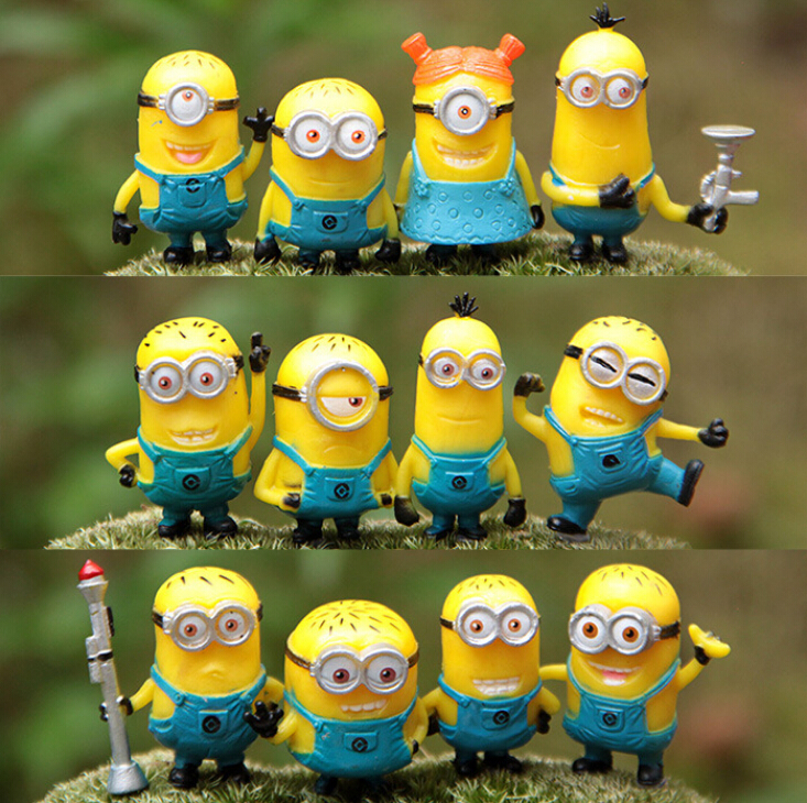 Toy set 12PCS/Set Despicable Me 2 Minion in Action Figures Minions Toys Doll Retail 96408(China (Mainland))