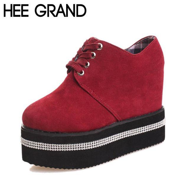 Осень женская обувь кружева-up стекаются плоские платформы женщин Creppers цвет красный ...