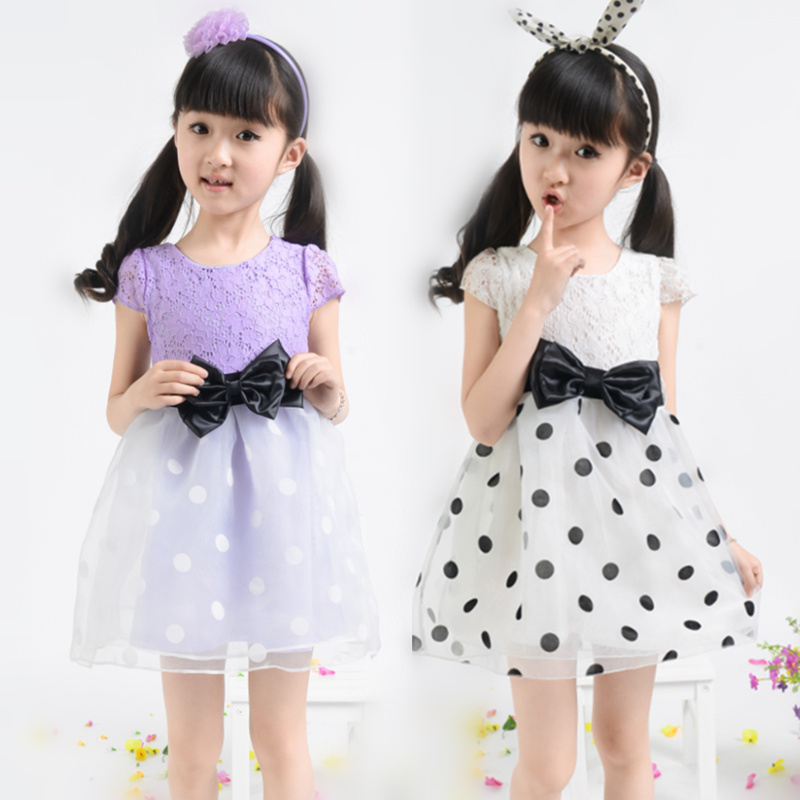 2016 Kids Girl Dress Summer Polka dot Bowknot Ball Gown Princess Party Dresses Vestidos Children's Clothing - CiCi Girls Clothes store