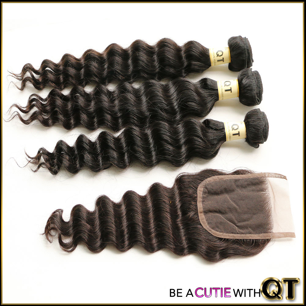 Queen Hair Products 3 Bundles Peruvian Loose Wave with Closure Unprocessed Peruvian Virgin Hair With Closure Human Hair Bundles