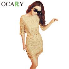 2015 новых осень вышивка женщины лето элегантный мода кружевном платье сексуальная золотой коктейль свадьба ну вечеринку платья Vestido де феста