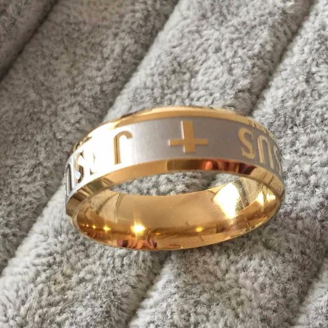 High quality 8mm 316 Titanium Steel jesus cross Letter bible ring