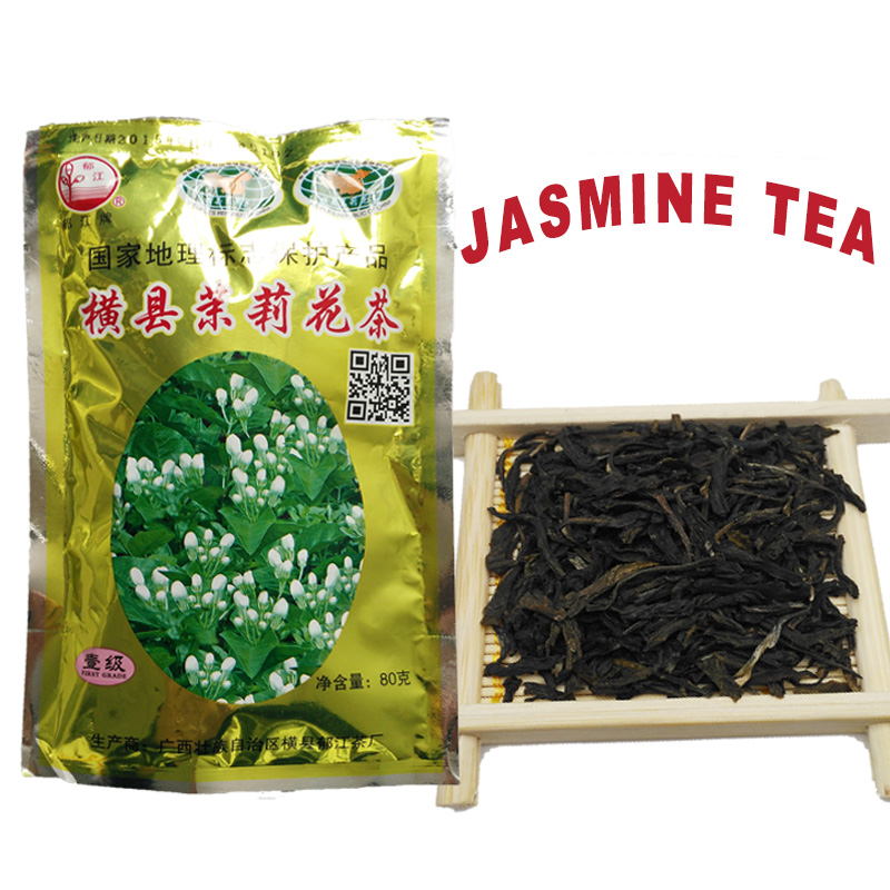 80gFirst grade grade Chinese Jasmine green tea Jasmine tea flower tea scented tea Guangxi Yujinag lose Weight food Free Shipping<br><br>Aliexpress