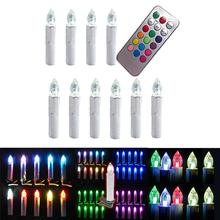 10PCS Flameless Colorful  LED Tea Candle Light   with  Remote control for Wedding Party(China (Mainland))