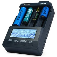 Hot Selling Opus BT-C3100 V2.2 Digital Intelligent Four Slots Rechargeable LCD Screen Battery Charger With EU US Adapter