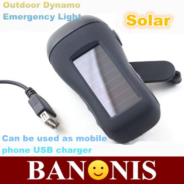 Solar flashlight, hand hand power flashlight, outdoor multi-purpose emergency light,USB mobile phone charger,55*116*44 mm(China (Mainland))