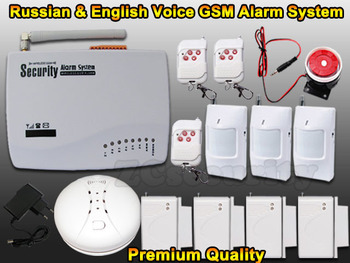 Free shipping Wireless home GSM alarm system with wireless and wired zone with Wireless Smoke detector
